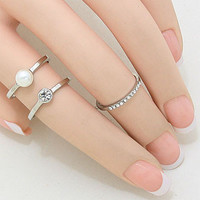 Pearl Midi Double Ring