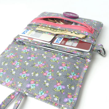 wallet women. coin purse card organizer. cute ladies card holder. floral grey pink cloth material teen girls gift idea. hipster