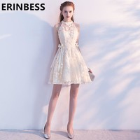 Vintage Lace Short Mini Prom Dresses 2018 Vestido De Festa Scoop Neck Ribbon Women Formal Party Gowns For Women