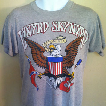 Vintage 1987 LYNYRD SKYNYRD Tshirt/ Original TRIBUTE 10 Years Later The Music Continues Tee/ Rock And Roll Band T-shirt