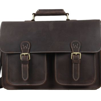 BLUESEBE MEN GENUINE LEATHER VINTAGE SATCHEL/MESSENGER BAG 6922