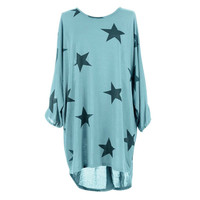 Women Summer Beach Casual Loose T shirt Batwing Stars Print Fine Knitted Baggy Tunic Female t shirt Plus Size