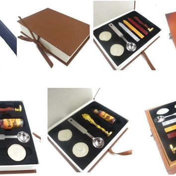D) New Stamp with gift  Box,Retro Sealing Wax Stamp with handel,Spoon,Wax Stick, White Wax,Deluxe Gift set custom design stamp