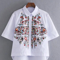 White Floral Asymmetric Blouse