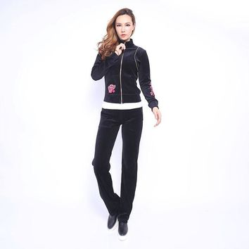 Juicy Couture Fw2017 Velour Tracksuit 2pcs Rose Embroidery Women Suits Black