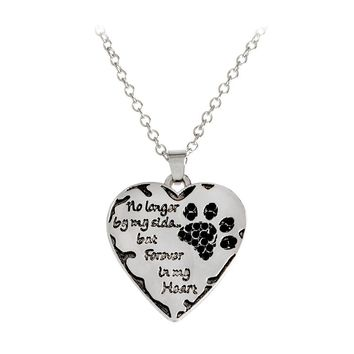 Paw No Longer By My Side,But Forever in My Heart Necklace for Dog Lovers Women Pet Animal Love Pendant Necklace Jewelry