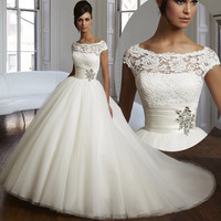 New 2016 Ball Gown Wedding Dresses 2016 Elegant Wedding Dress with Lace Tulle and Organza Plus Size Bridal Gowns Custom Made