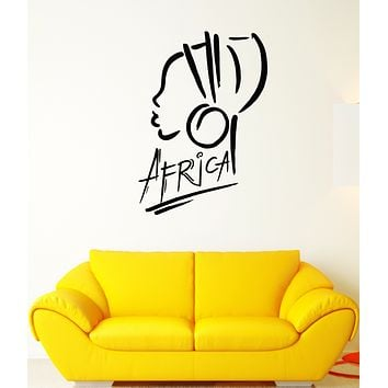 Vinyl Wall Decal Africa Logo African Girl Turban Stickers (3294ig)