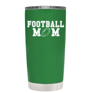 TREK Football Mom on Kelly Green 20 oz Tumbler Cup