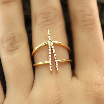 Diamond V-Ring with Pave Diamonds - Diamond Wedding Band - 925 Sterling Silver over Gold Filled