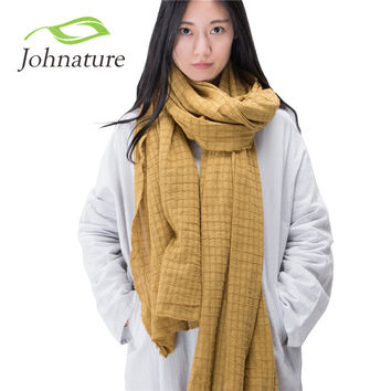 Johnature 2015 Autumn Winter New Women Vintage Scarves Multicolor Large Size Solid Color Plaid Cotton Female Scarf