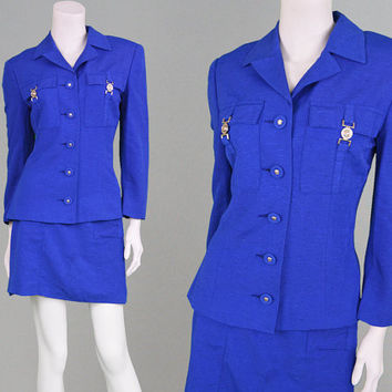 Vintage 90s VERSACE Jeans Couture Royal Blue Two Piece Jacket & Skirt Suit Mini Skirt Office Wear Silk Blend Designer Suit Made in Italy