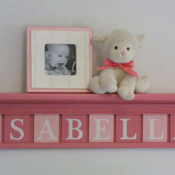 "Baby Girl Wooden Name Signs Nursery Decor 30"" Pink Shelf with 8 Wooden Wall Letters Shower Gift for ISABELLA"