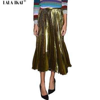 Metallic Color Pleated Skirts Womens 2016 Fashion Maxi Lady Skirts Silk All-Match Skirt Girl Elastic High Women Skirt QWF0130-5