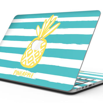 Striped Mint and Gold Pineapple - MacBook Pro with Retina Display Full-Coverage Skin Kit