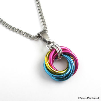 Pansexual pride chainmaille love knot pendant; pink, yellow, light blue