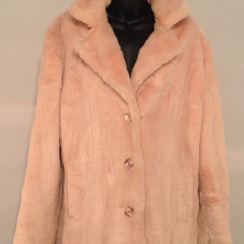 Fabulous Vintage 90's Pink Faux Fur Reversable Women's Winter Coat, Button Front, Nylon Rain Coat, Women's Medium to Large