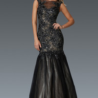 G2162 Sheer Illusion Lace and Tulle Mermaid Prom Dress