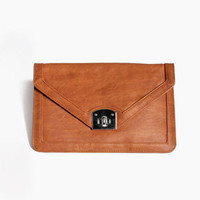 Leather Envelope Clutch in Tan