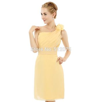 Yellow One Shoulder Prom Gown Bridesmaid Chiffon Party Beaded Dresses