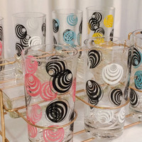 Vintage Deadstock never used 1950s SWIRL Turquoise Blue pink black yellow white drinking Glass Set of 8 w/ Caddy & TRAYS serving MCM Colony