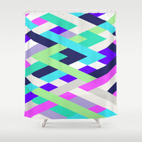 Smart Diagonals Radiant Orchid Shower Curtain by House of Jennifer
