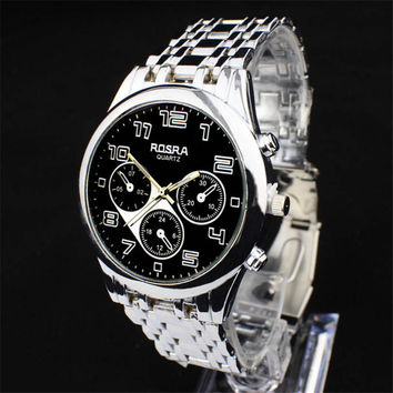 Mens Silver Steel Strap Watch Boys Casual Sports Watches Best Christmas Gift