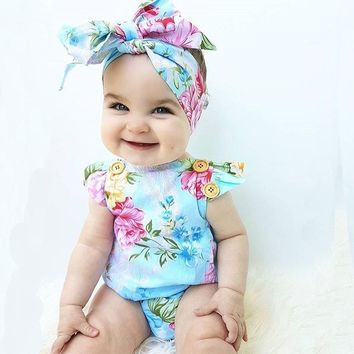 summer new baby girl clothes newborn toddler sleevedless flower baby romper infant + Headband 2 pcs clothing set