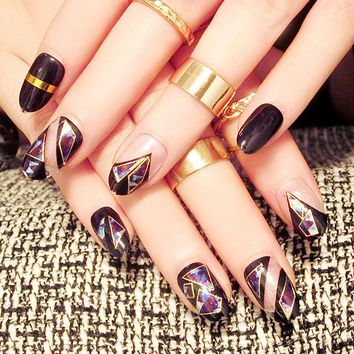 Black round head Nail Art Tips Dazzle colour Fake Finger Tips Good Material gel Nails Beauty Manicure Products with glue sticker