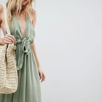 ASOS Woven Tie Front Maxi Beach Dress at asos.com
