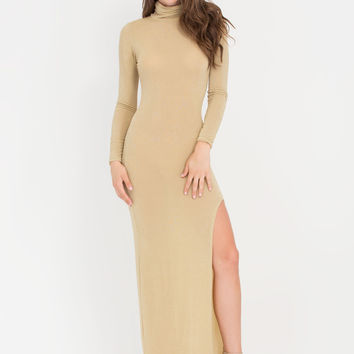Shine On Mockneck Metallic Maxi Dress