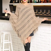 Womens Knit Poncho with Fringe