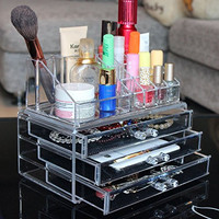 Ohuhu Acrylic Makeup Cosmetics Organizer 3 Drawers with Top Section, 9.4 by 7.5- Inch, Transparent