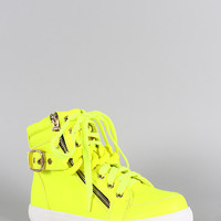 Liliana Neon Zipper Chain High Top Lace Up Sneaker