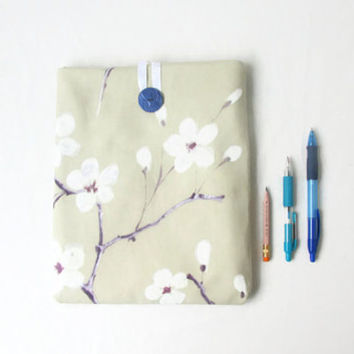 Blossom print IPad case, 10 inch tablet case, fabric tablet sleeve, Cherry blossom print, IPad or IPad Air cover, handmade in the UK