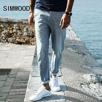 SIMWOOD 2017 New Autumn  Spray painting Striped  Jeans Men skinny Thin Fashion Slim Fit  Denim Trousers SJ6080