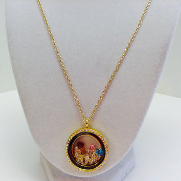 Gold floating locket, Memory Necklace, Floating Charm Pendant,Gold Pendant, Rhinestone Memory Locket, Love Necklace, Origami Owl