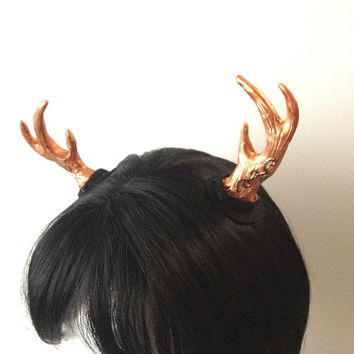 Bronze Antlers - Hair Clip - Fantasy Costume Accessory