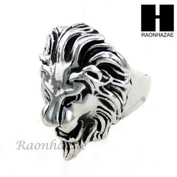 ONETOW MEN STAINLESS STEEL ANTIQUE SILVER TONE LION FACE RING 8-12 SR035CL