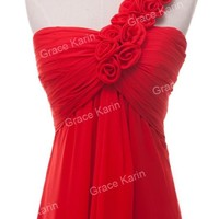 2015 RED Women Bridesmaid One Shoulder Floral Evening Prom Long Maxi Party Dress