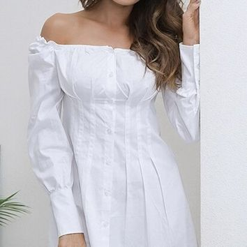 Call Me Later White Long Sleeve Off The Shoulder Button Down Pleated A Line Flare Casual Mini Dress