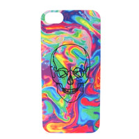 Neon Color Warped Skull Phone Case