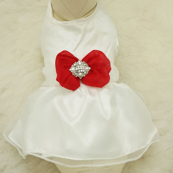 Red Dog Dress, Christmas gift, Pet accessory,dog clothing