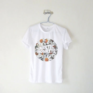 Arctic Monkey Logo With Daisy Background Unisex Tshirt / Tumblr Inspired / Grey Pink Blue Yellow / Plus Size