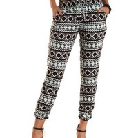 Drawstring Aztec Print Jogger Pants by Charlotte Russe