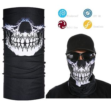 Skeleton Ghost Skull Face Mask Biker Face Shield Balaclava Half Face Bandana