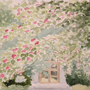 Garden in southern Helsinki, Finland. Original watercolor painting.
