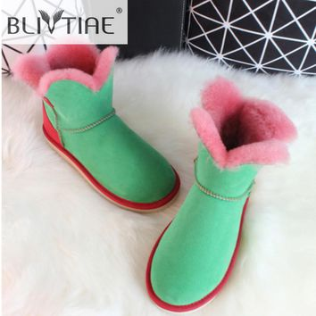 BLIVTIAE Brand Luxury Sheepskin Snow Boots Natural Sheep Fur Ankle Boots Flower Sweet  Wool Shearling Female Fur Winter Boots