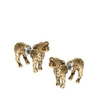 River Island Wolf Front And Back Earrings at asos.com