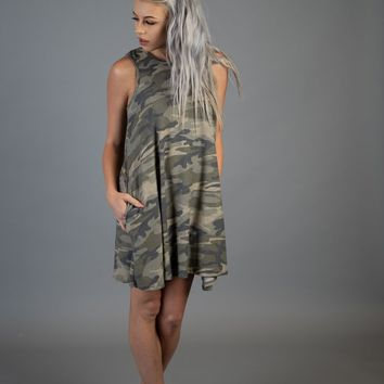 Camo Sleeveless Dress with Cut Out Back